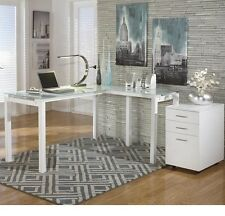 Beau Signature Design By Ashley Baraga L Desk And File Cabinet In White