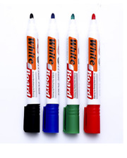 4 X Large seco limpie White Board marcadores Bolígrafos Punta De Bala Negro Azul Rojo Verde