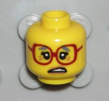 LEGO Yellow Minifigure Head Dark Red Glasses Gray Eyebrows Mrs. Scratchen-Post