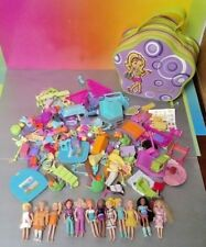Lot of 12 Polly Pocket Dolls & 200+ Accessories Clothes + Zipper Case - Mattel