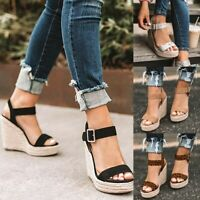 Womens Platform Sandals Wedge High Heel Open Toe Ankle Strap Shoes Espadrille US