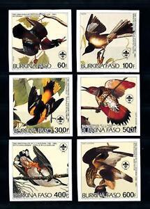 [93796] Burkina Faso 1985 Birds Vögel Oiseaux Audubon Scouting Imperf. Set MNH