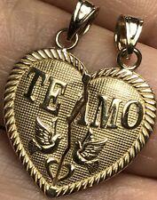 "1"" 1.6g 14k SOLID Real Gold TE Amo 2 Pc Split Heart Broken Yellow Pendant Charm"