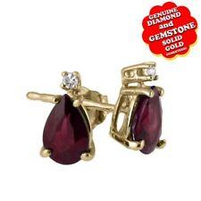 14K Yellow Gold 0.72 Ct Ruby & Natural Diamond Stud Stud Earrings