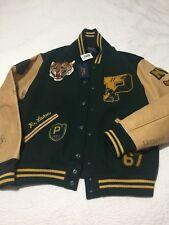 Polo Ralph Lauren Varsity Letterman Leather Football Tiger RRL NY Jacket XL