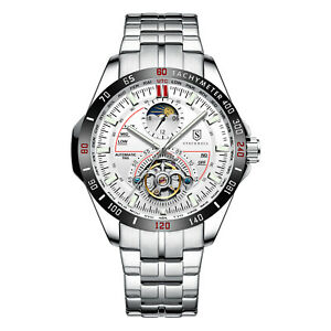 MENS STOCKWELL AUTOMATIC  WATCH MOON PHASE STAINLESS STEEL STRAP GLASS BACK