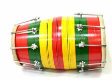 More details for multicolour dholak dholki professional nut & bolt full size percussion drum