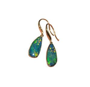 Sparking 100% Australia Doublet Opal Earrings/Dangler 9K Gold1.83G