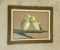 """ARTIST: MCALLISTER. PAIR OF OWLS OIL PAINTING ON CANVAS WITH WOOD FRAME.16""""X 20"""""""