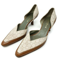 Cole Haan City Women's D'orsay Pumps 6B Brown Cream Leather Pointed Toe Italy