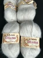 Lot of 4 50g Skeins Patons DIANA Yarn Silver Pale Gray Made in Canada