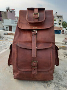 Bull Leather Bakcpack Luggage Weekend Travel Bag Mens Brown Rucksack Large bag