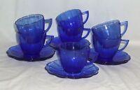 7 Hazel Atlas NEWPORT/ HAIRPIN* COBALT BLUE *CUPS & SAUCERS*