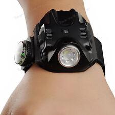 táctica recargable linterna antorcha luz muñeca reloj LED lámpara 5Modes brújula