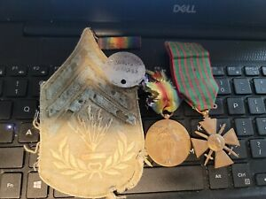 WW1 VICTORY MEDAL STRIPES RIBBON DOG TAG+FRENCH WAR CROSS  SEE STORE WW1 MEDALS