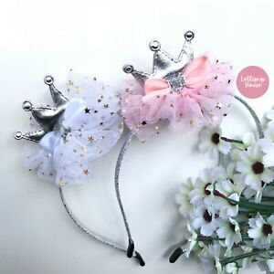 LollipopHouse Crown Headband Girls Crown Headband Pink tutu crown hair accessory