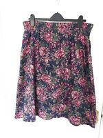❤ Vintage LAURA ASHLEY L Navy Green Pink Floral Skirt Soft Cotton Wool Prairie