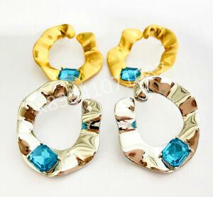 OSCAR DE LA RENTA Gold /Silver hoop blue crystal stud earrings Christmas gift