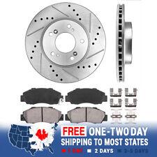Front Drill And Slot Brake Rotors & Ceramic Brake Pads For Acura Honda Odyssey