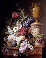 Huge oil painting Gerard Van Spaendonck - Still Life with flowers and basket art