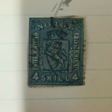 Early Norwegian Stamps x 2; 1855, 1856.  4 SKILL 4; 8 OTTE SKILLING