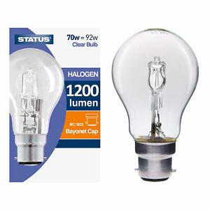 5 x Status 70W = 100W BC B22 GLS Warm White Halogen Energy Saving Light Bulbs