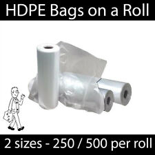 """HDPE Clear Polythene Bags on a roll - Food Fruit Veg Meat Freezer 9"""" x 14"""""""