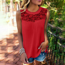 Women Casual Loose Lace Sleeveless Crop Top Vest Tank Shirt Blouse Camis TopsCA