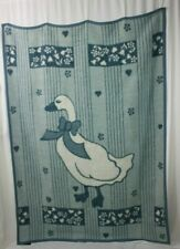 """VTG IBENA Blue White Goose Heart West Germany 52"""" X 71"""" Reversible Blanket"""