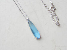TURKISH 925K STERLING SILVER BLUE AQUAMARINE DROP CHAIN LUCKY NECKLACE