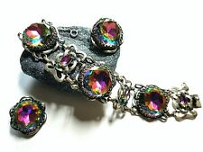 Signed Vintage Schiaparelli Watermelon Tourmaline Bracelet and Clip On Earrings