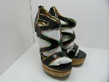 C Label Women's Femi-1 Heel-Less Platform Sandals Black/Multi Size 8M