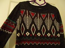Hollister Gray Sweater Men's S Small Aztec Blue Red Design Women's M Medium