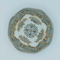 Arita Yaki Octagon Shape Dish Bowl Japanese Blue White Gold 6295 Blue Bull