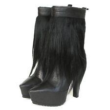 ALEXANDER WANG $925 black goat fur pointed toe platform Polina boots 35-IT/5 NEW