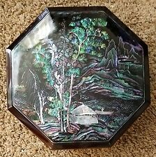 """KOREAN MOTHER OF PEARL JEOL PAN SERVING TRAYS D 10"""" WITH 5 SECTIONS IN OCTAGON"""