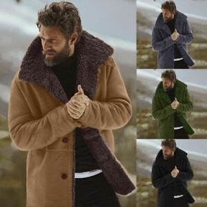 Men's Winter Collared Jackets Coat Sheepskin Warm Wool Lined Faux Lamb Outerwear
