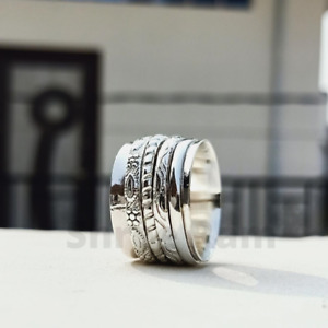 Solid 925 Sterling Silver Ring Spinner Ring meditation Ring Statement Ring Us51