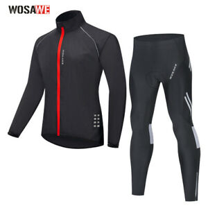 Mens Cycling Jacket Pants Suit Long Sleeved Bike Jerseys 3D Padded Tight Bicycle