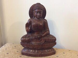 Vintage Carved Wooden Buddha. Seated Halo Mandala