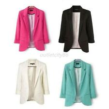 New Fashion Womens Solid Color NO Button Blazer Casual Jacket Slim Suit Coat Hot