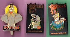 3 HOOTERS COLLECTIBLE PINS- 2004 CHRISTMAS /2004 HALLOWEEN/2004 TUSCALOOSA