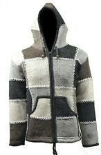 Natural patch stitched Handmade Fleece Lined Winter unisex thick woolen Jacket