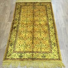 Yilong 3'x5' Gold Handmade Carpet Classic Style Hand Knotted Silk Area Rug G65AB