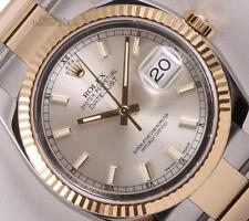 Rolex Datejust 116233 Two Tone Oyster 36mm 18k Fluted Bezel Silver Stick Dial