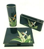 Vintage Otagiri Japan Birds of Paradise Home Desk Organizer and Vase Set