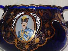 Antique Enamel Persian Blue Glass Qajar Dynasty Nasser Al Din Shah Roozbeh Bowl