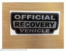 105X45MM SILVER OFFICIAL RECOVERY VEHICLE - 4X4 LAND ROVER -  DECAL STICKER