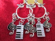 Black Silver Chandelier dangle/drop earrings Keyboard Music Crystal, White &