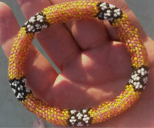 Beaded Rope Bracelet, Womens Yellow and Orange, 7.25 peyote seed bead tube